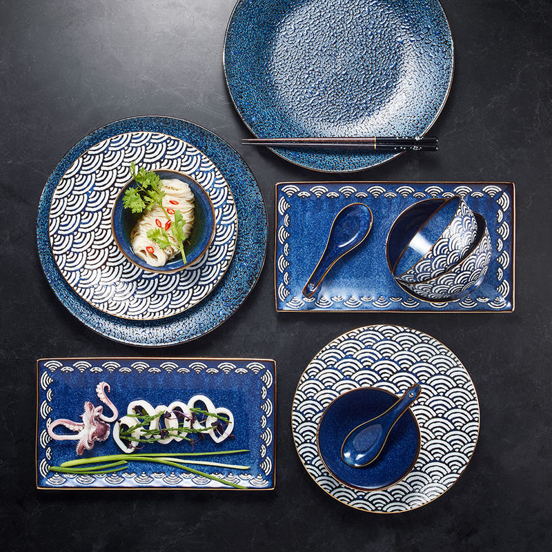 Assiettes plates - Motif traditionnel japonais Seigaiha Photo 2