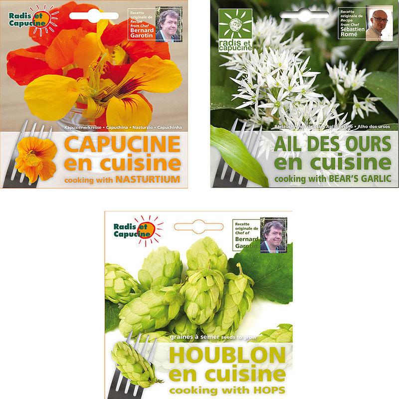 graines pour fleurs et herbes comestibles lot de 3 capucine ail des ours et houblon hagen. Black Bedroom Furniture Sets. Home Design Ideas