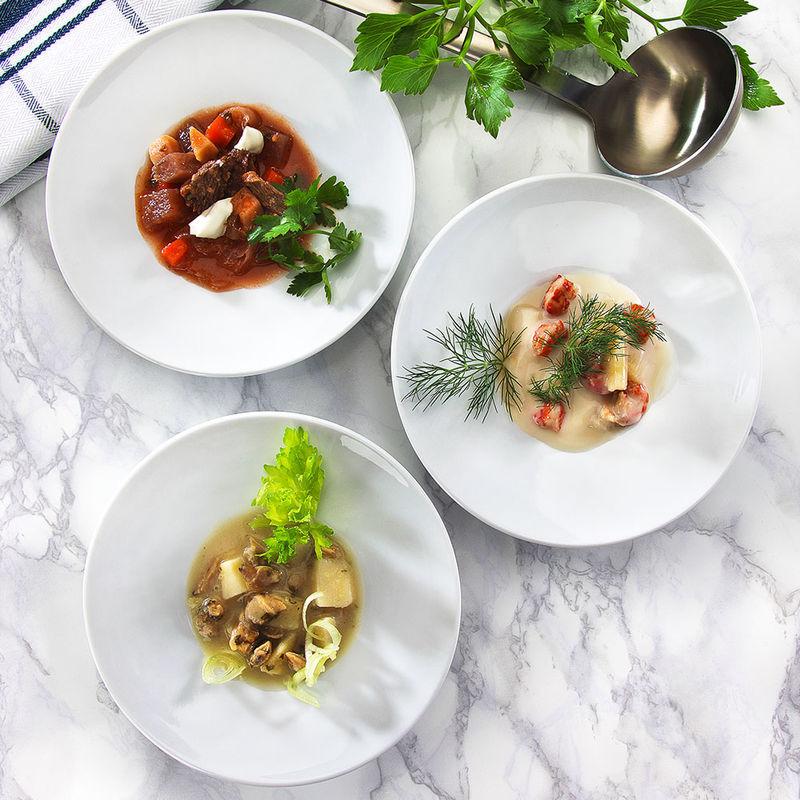 bortsch clam chowder velout d 39 asperges aux crevisses sp cialit s de soupe raffin es. Black Bedroom Furniture Sets. Home Design Ideas