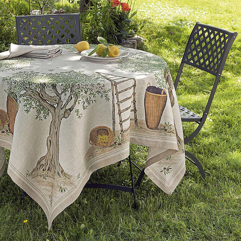 nappes linge de table m diterran en en lin au joli motif. Black Bedroom Furniture Sets. Home Design Ideas