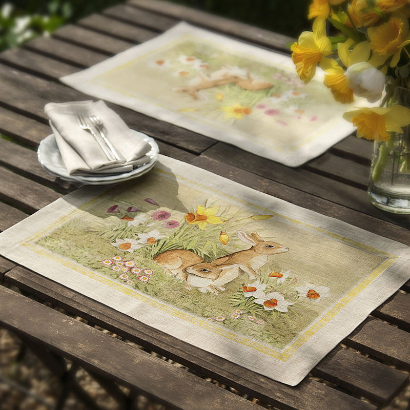 Sets de table magnifique linge de table pour p ques - Linge de table raffine ...