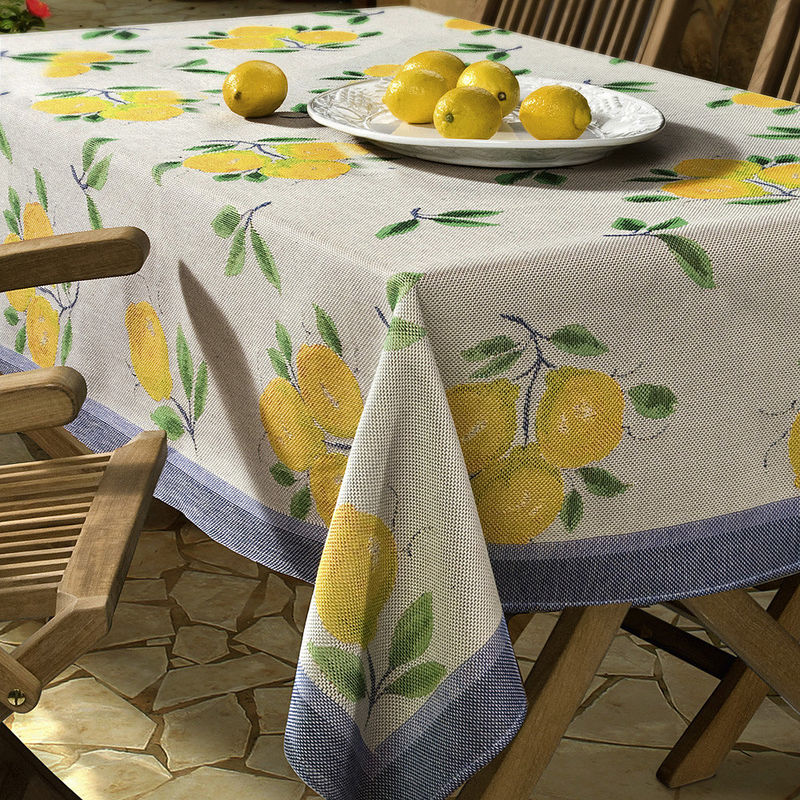 linge de table avec des citrons m diterran ens hagen. Black Bedroom Furniture Sets. Home Design Ideas