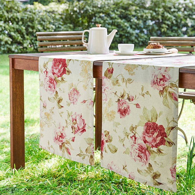chemin de table linge de table anglais au motif de roses. Black Bedroom Furniture Sets. Home Design Ideas
