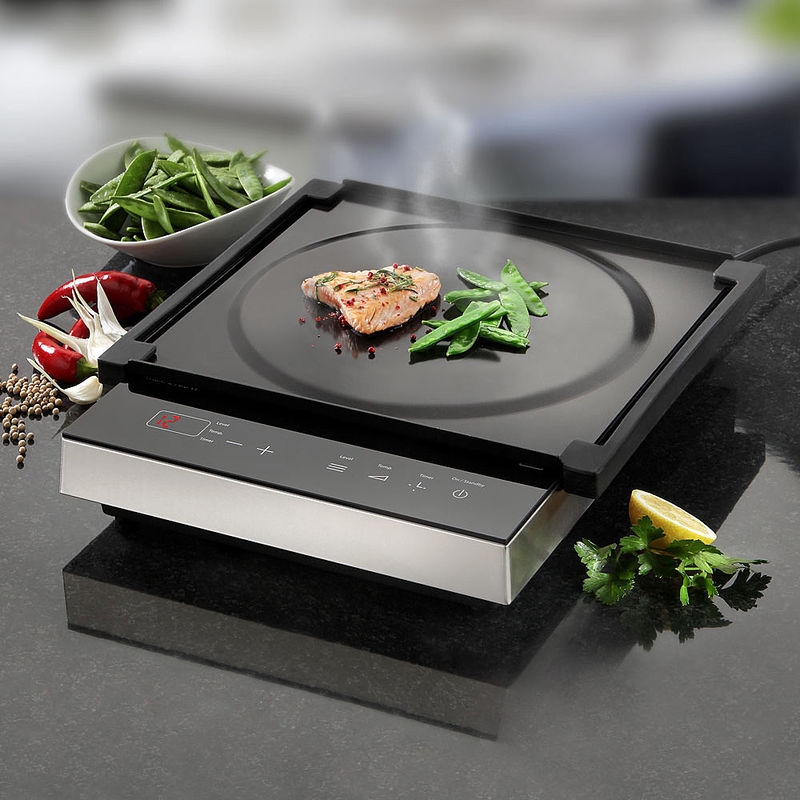table de cuisson mobile induction avec plaque teppanyaki. Black Bedroom Furniture Sets. Home Design Ideas
