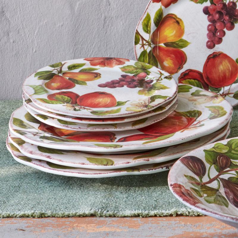 assiette plate vaisselle italienne au motif de fruits. Black Bedroom Furniture Sets. Home Design Ideas