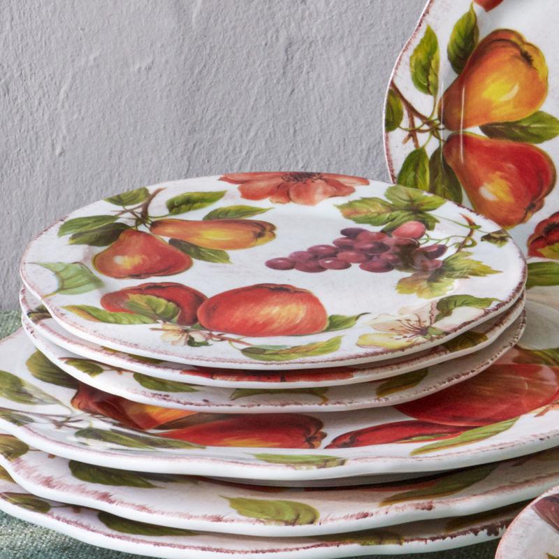 assiette dessert vaisselle italienne au motif de fruits composition artisanale hagen. Black Bedroom Furniture Sets. Home Design Ideas