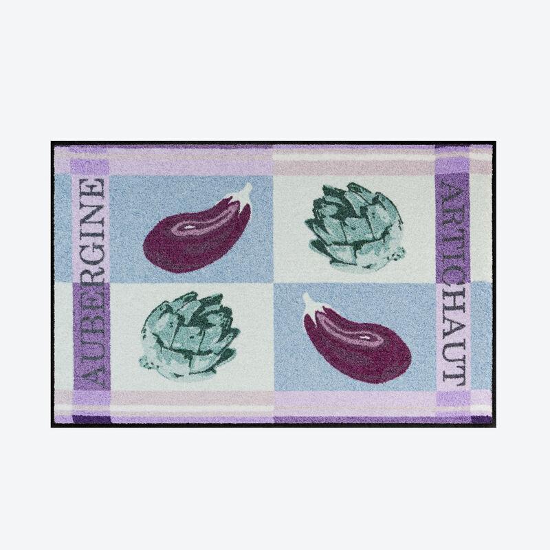 ce tapis de sol sp cial cuisine au design exclusif au motif aubergine prot ge sols et. Black Bedroom Furniture Sets. Home Design Ideas