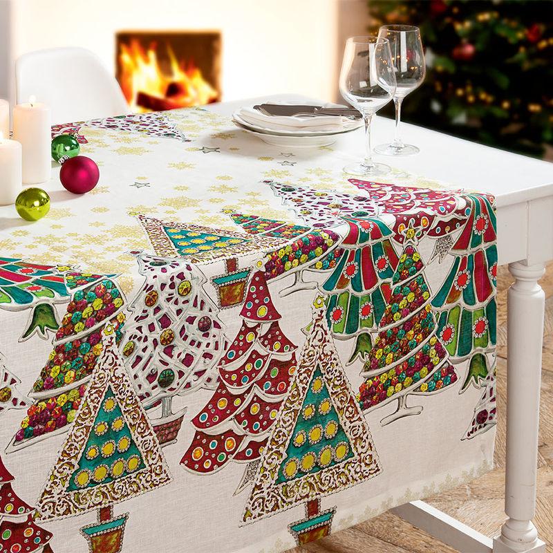 Nappes art textile toscan des sapins de no l color s for Service de table pour noel
