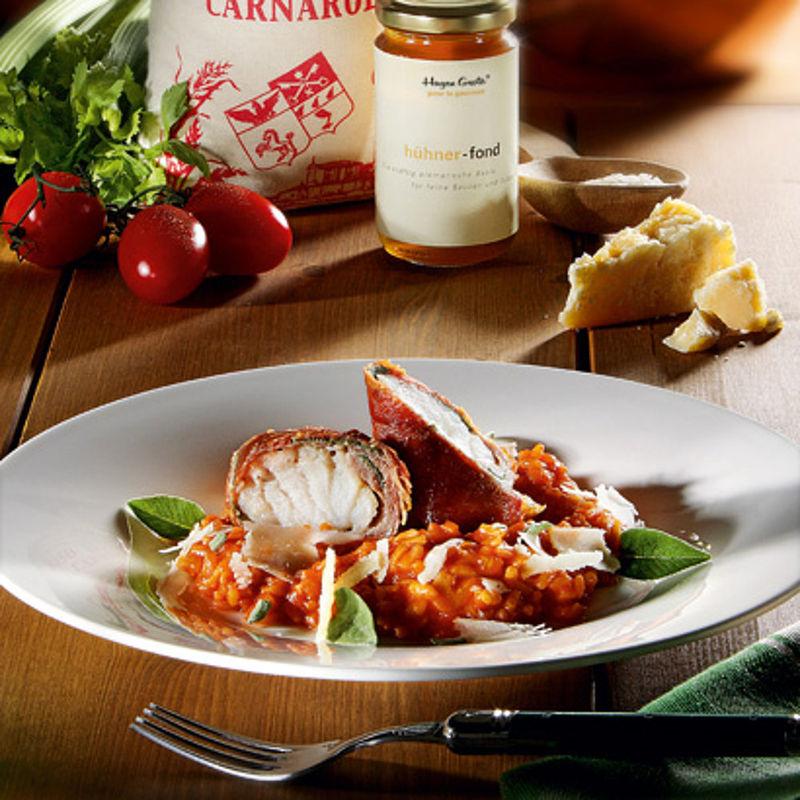 m daillons de sandre avec jambon de parme et risotto la tomate recette hagen grote gmbh. Black Bedroom Furniture Sets. Home Design Ideas